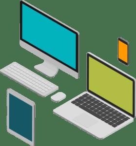 illustration installation postes de travail et matériel informatique