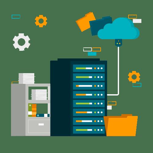 illustration installation serveur et matériel informatique